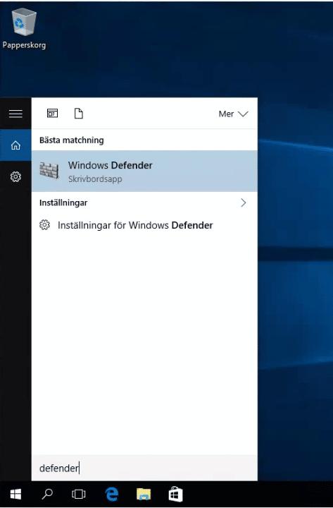 Använd Windows Defender som antivirusprogram, startmeny