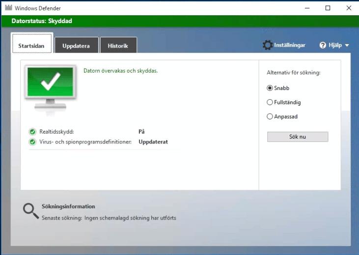 Använd Windows Defender som antivirusprogram, konsolen