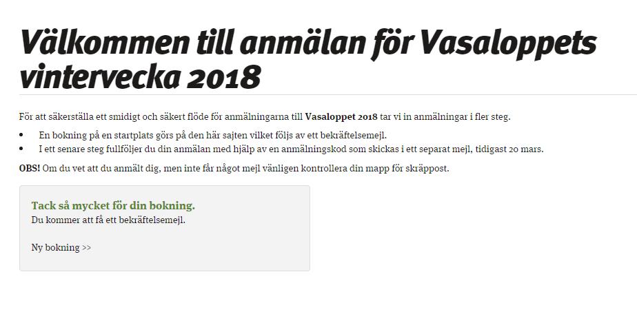 Anmäld till vasaloppet 2018