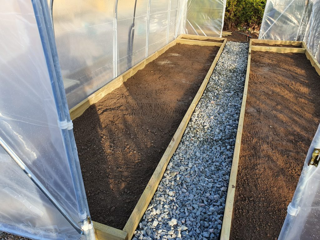 Tunnelväxthus, planteringsytor